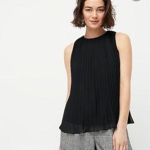 J crew black sleeveless pleated georgette blouse